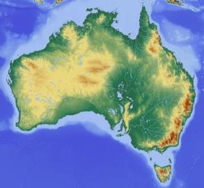Relief map of Australia