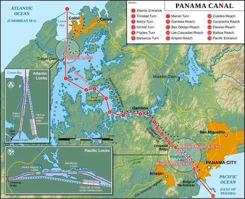 Panama Canal Relief Map