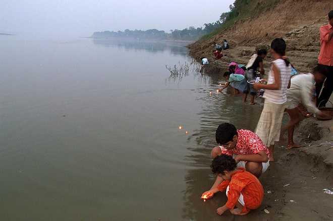 Diya over river Ganges